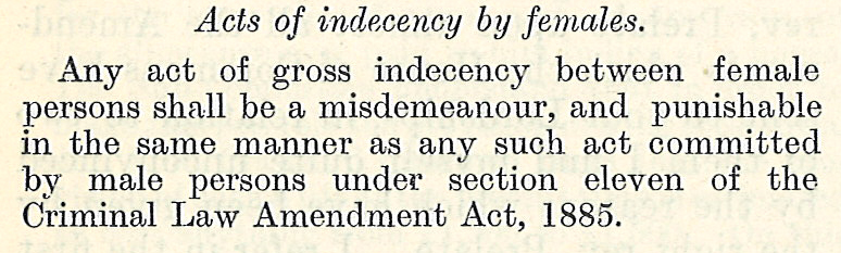 Failed amendment in UK Parliament to criminalise gross indecency between women,1921