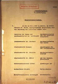 Front page of an old historical document shwoing leibbrandt's name on the invitation list for the Wannsee conference